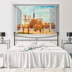 Vinyle décoratif cathédrale de notre dame paris france 3d