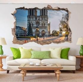 Vinyle adhésif 3d cathédrale notre dame paris france