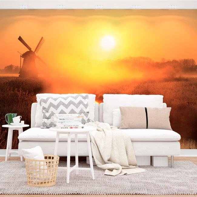 Murales de vinyle coucher de soleil moulin hollande