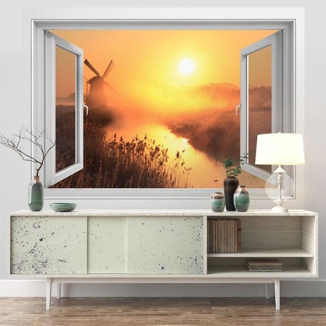 Vinyle murs fenêtre 3d sunset moulin holland