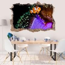 Vinyle murs poisson clown et anémone 3d