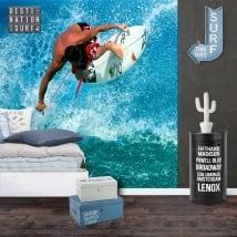 Peintures murales de vinyle surfeur sur la vague