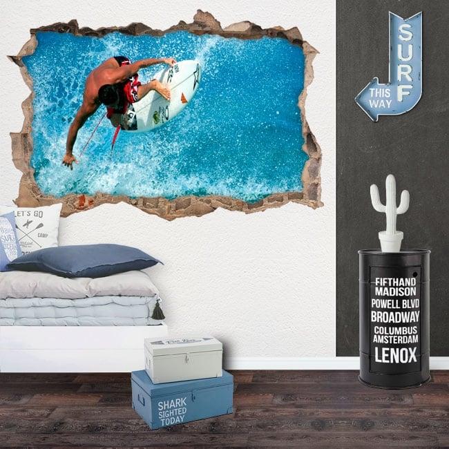 Autocollants décoratifs 3d surfeur sur la vague
