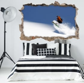 Stickers muraux 3d snowboard