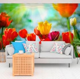 Peintures murales de vinyle fleurs de tulipes