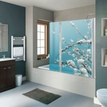 Vinyles pour les écrans de salle de bain fleurs de cerisier