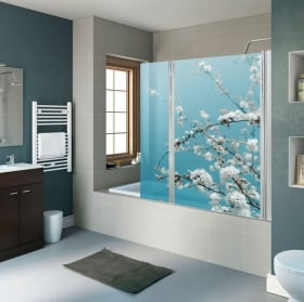Vinyles pour écrans de salle de bain fleurs tulipes