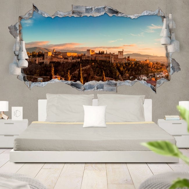 Vinyle décoratif 3d panoramique l'alhambra grenade
