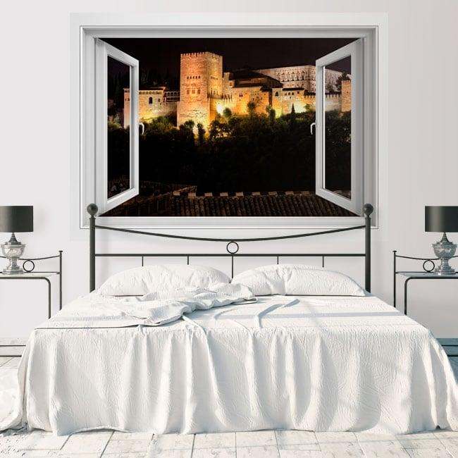 Fenêtres en vinyle avec vue nocturne sur l'alhambra 3d