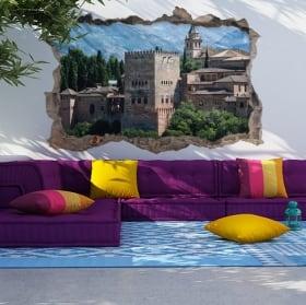 Vinyle et autocollants 3d la ville d'alhambra de grenade