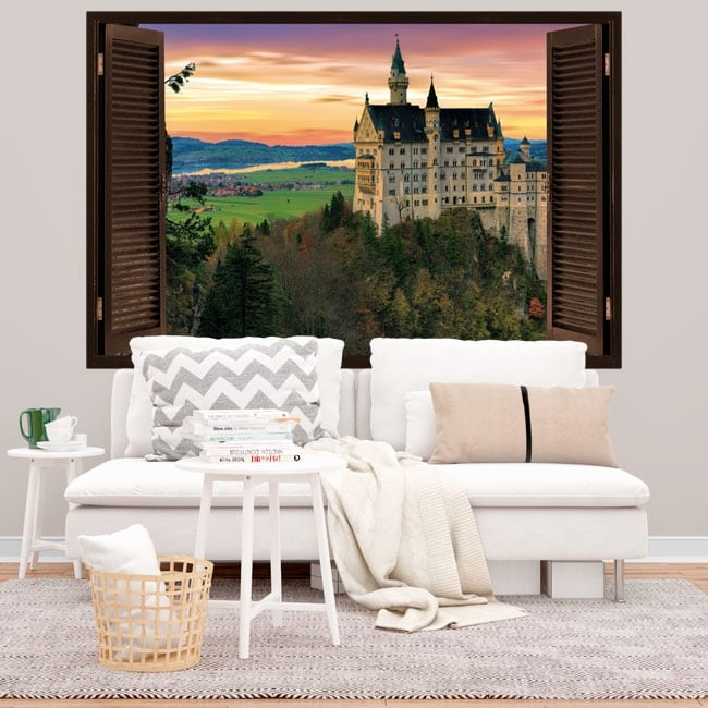Vinyle et autocollants 3d fenêtre château de neuschwanstein