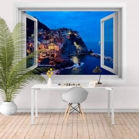 Windows de vinyle 3d cinque terre la spezia italie