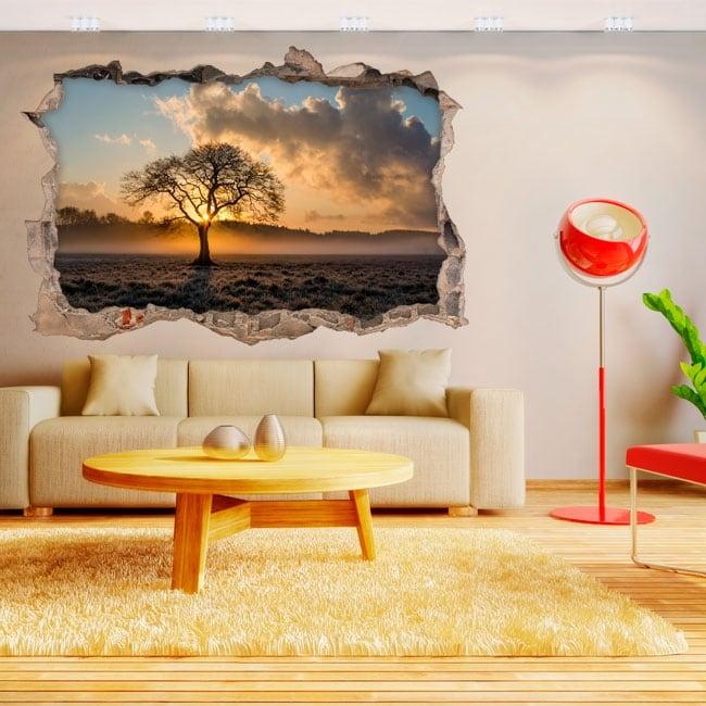 Autocollants en vinyle 3d arbre et coucher de soleil