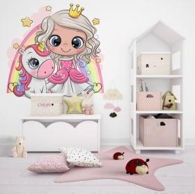 Vinyle enfants ou jeunes princesse et licorne