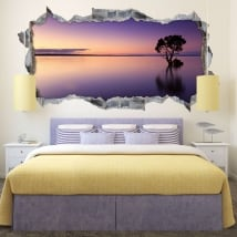 Vinyle 3d panoramique coucher du soleil arbre dans l'eau
