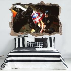 Trou mural en vinyle 3D guerre civile du Capitaine Amérique