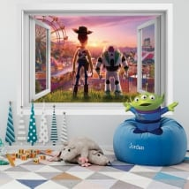 Vinyle murs 3d fenêtre histoire de jouets 4
