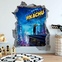 Autocollants décoratifs 3d pokémon détective pikachu