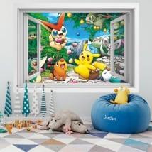 Vinyle murs 3d fenêtre pikachu