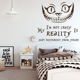 Vinyle chat alice au pays des merveilles phrase anglaise