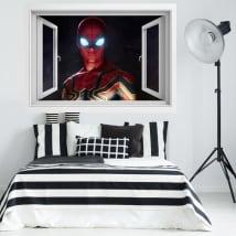 Vinyle fenêtre 3d spider-man loin de la maison