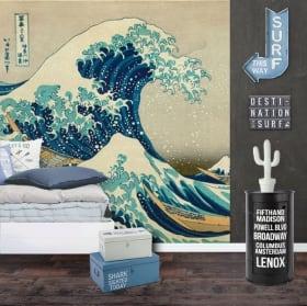 Murales de vinyle tsunami ou la grande vague