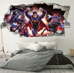 Stickers muraux 3d superman crise infinie