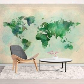 Murales de vinyle décoratif aquarelle carte du monde