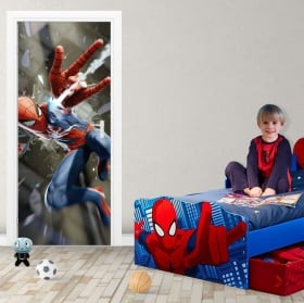 Autocollants en vinyle pour portes spiderman