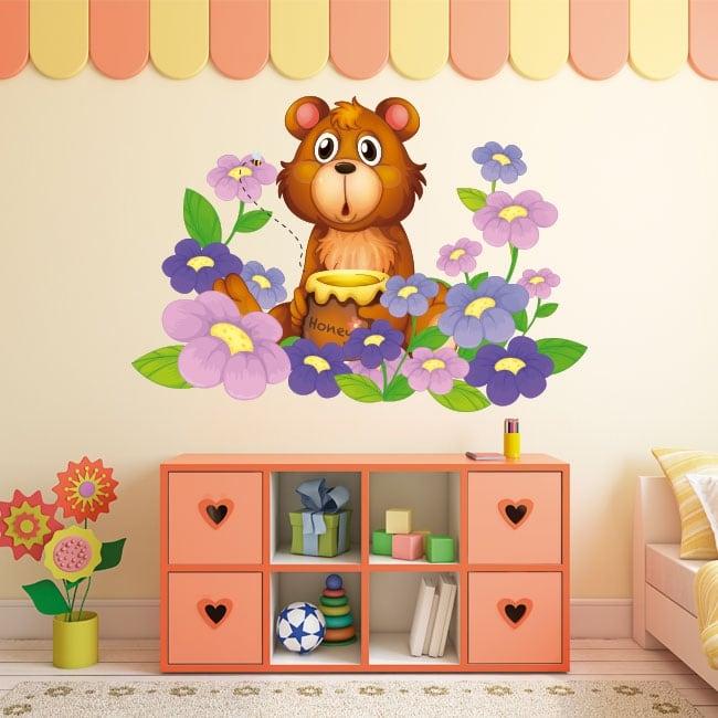 Autocollants en vinyle pour enfants ours et fleurs