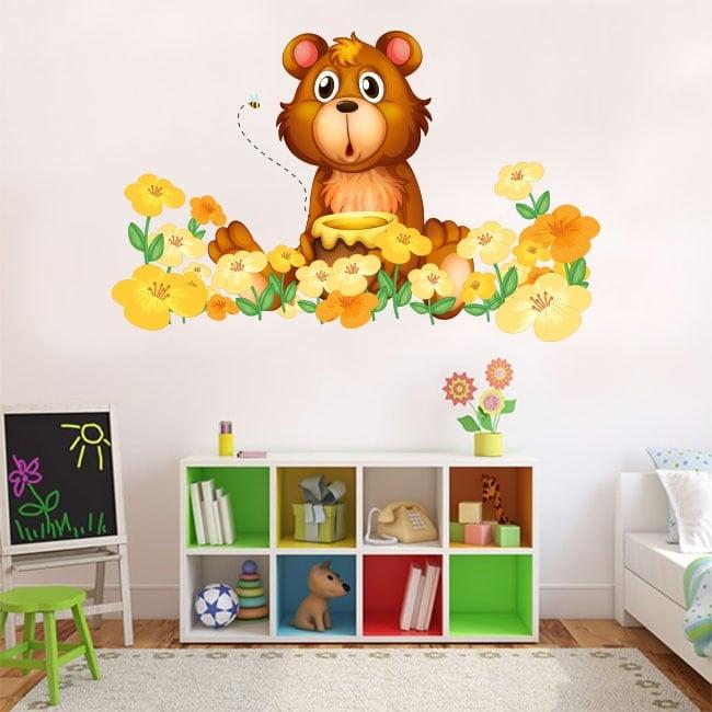 Vinyle enfants ou juvéniles ours et fleurs