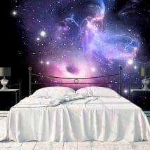 Peintures murales trou noir et nébuleuse avec étoiles