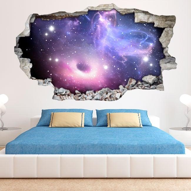 Autocollants 3d trou noir et nébuleuse avec des étoiles