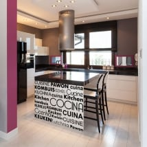 Vinyle décoratif cuisine en plusieurs langues