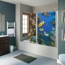 Vinyle écrans de salle de bain poisson et récif de corail
