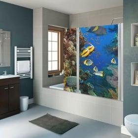 Vinyle écrans de salle de bain fleur de lotus et pierres zen