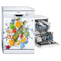 Vinyles lave-vaisselle fruits et éclaboussures d'eau