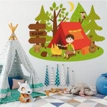 Vinyle enfants et jeunes camper dans la forêt