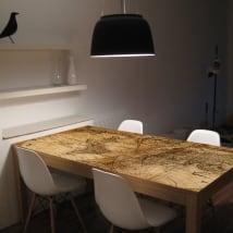 Vinyle pour tables et meubles carte du monde