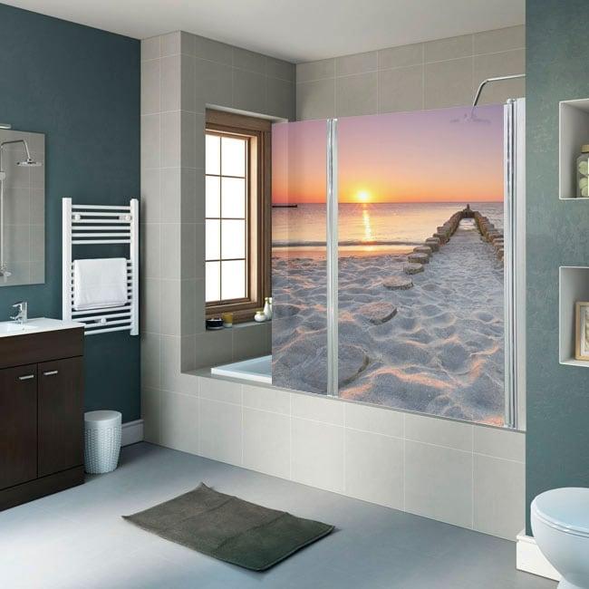 Vinyle d coratif crans de salle de bain plage au coucher du soleil - Vinyle salle de bain ...