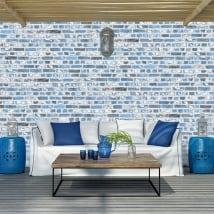 Peintures murales de vinyle avec des briques bleues