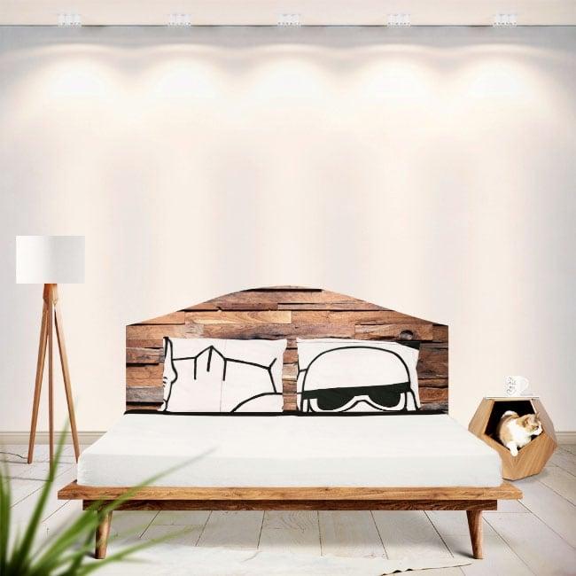 Vinyle têtes de lit bois rustique