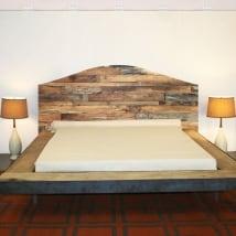 Vinyle et autocollants têtes de lit lits bois rustique