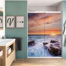 Vinyle écrans de salle de bain coucher de soleil sur la mer
