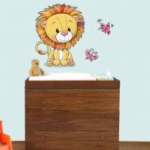 Vinyle pour enfants ou de bébé lion et papillons