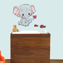 Vinyle les enfants ou bébé éléphants et coccinelles