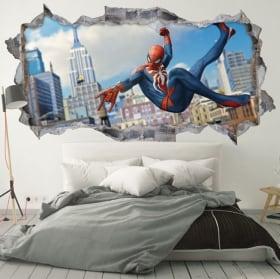 Vinyle les murs iron man et spiderman 3d