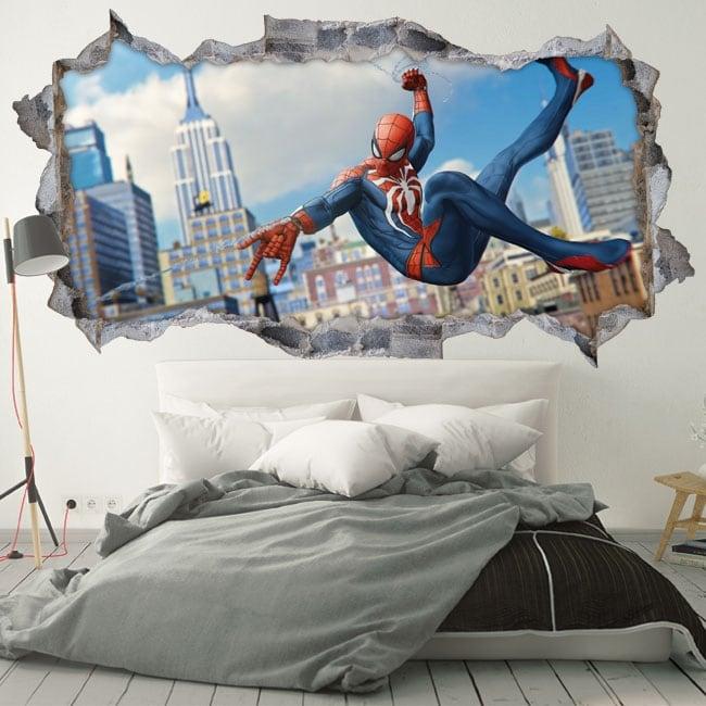 Stickers muraux 3d homme araignée