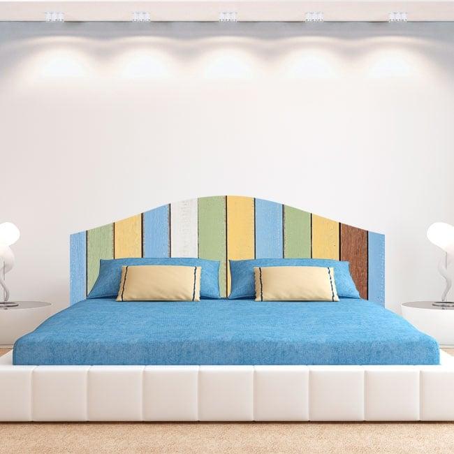 Vinyle têtes de lit planches en bois colorées