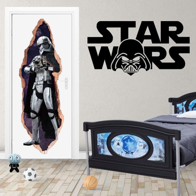 Vinyle pour portes 3d star wars capitaine phasma